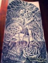 skull sleeve custom tattoo design