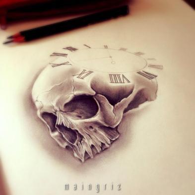 skull 1 clock custom tattoo design