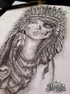indian girl skull custom tattoo design