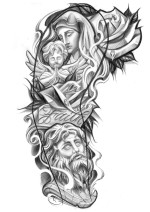 antik and religious sleeve tattoo design