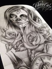 catrina and rose tattoo design