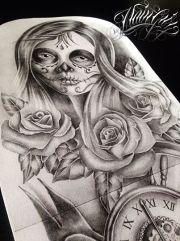 catrina and rose tattoo design