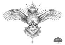 masonic black and grey tattoo design